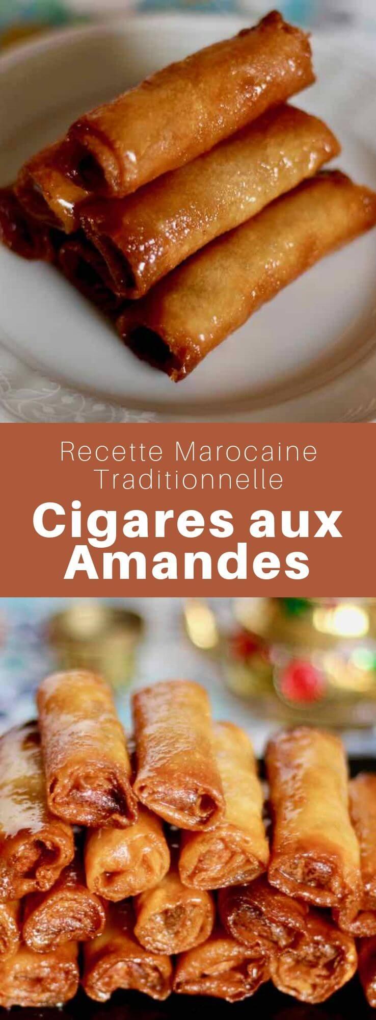 Les cigares aux amandes sont une pâtisserie traditionnelle du Maghreb à base de feuille de brick farcie d'amandes, frits et nappés de sirop au miel. #Maroc #PatisserieMarocaine #PatisserieOrientale #RecetteMarocaine #CuisineMarocaine #CuisineDuMonde #196flavors
