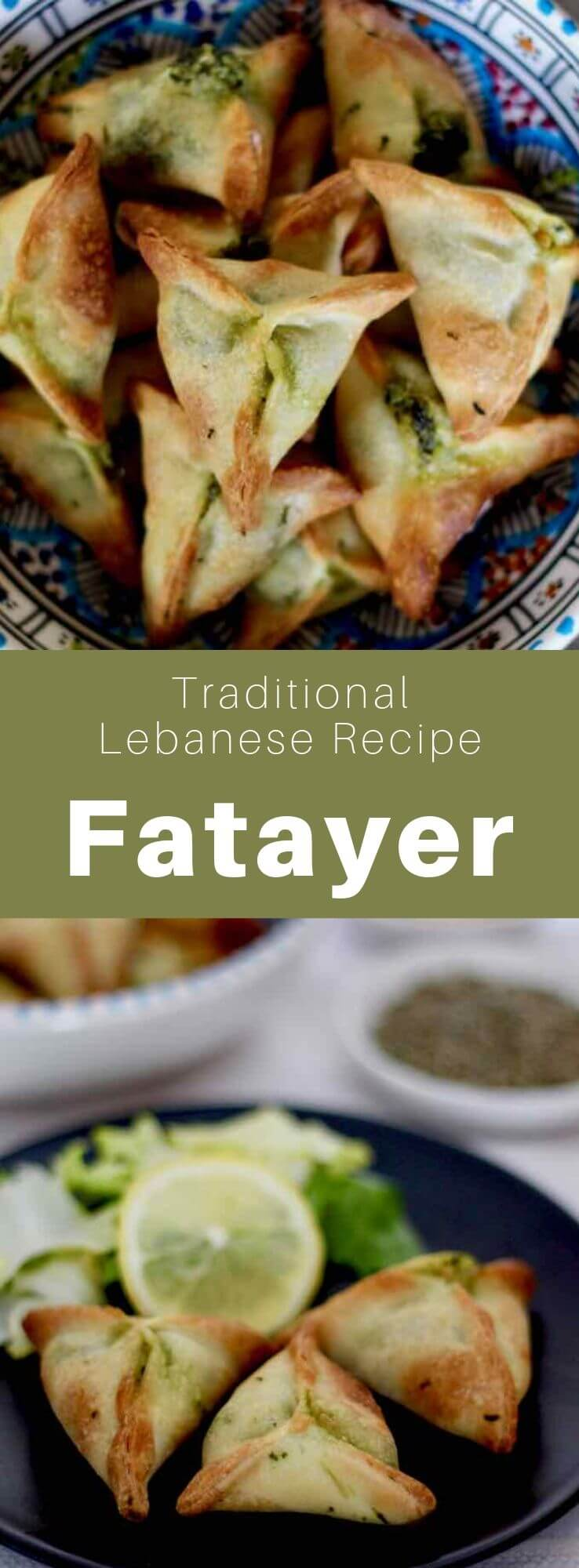 Fatayer (or fitiir) is a traditional Lebanese mezze that consists in a spinach stuffed turnover, also popular in Turkey and Middle Eastern countries. #Lebanon #LebaneseFood #LebaneseCuisine #LebaneseRecipe #LevantineCuisine #LevantineRecipe #LevantineFood #WorldCuisine #196flavors