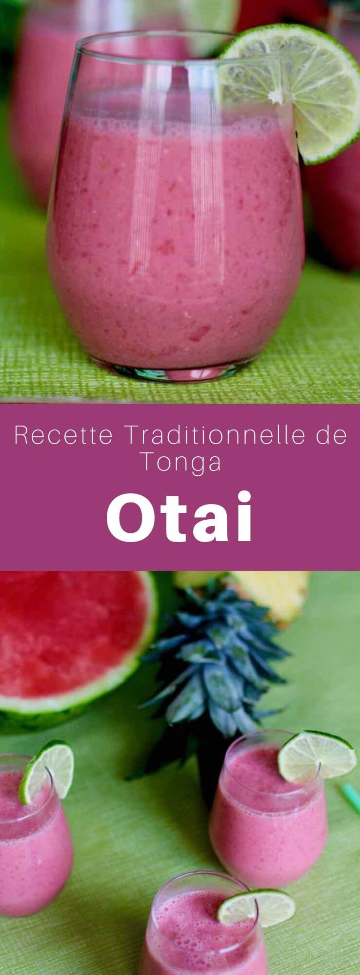 L'otai est une boisson aux fruits originaire de la Polynésie occidentale, composée d'un mélange d'eau, de noix de coco et de toute une variété de fruits tropicaux, surtout la pastèque mélangée à de de l'ananas. #Polynesie #Tonga #RecettePolynesienne #CuisineDuMonde #196flavors