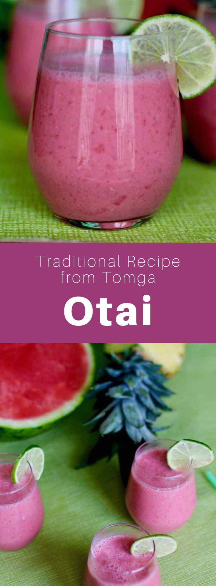 Otai is a fruit drink from Western Polynesia, made from a mixture of water, coconut and a variety of tropical fruits, especially watermelon mixed with pineapple. #Tonga #Polynesia #PolynesianDrink #WorldCuisine #196flavors