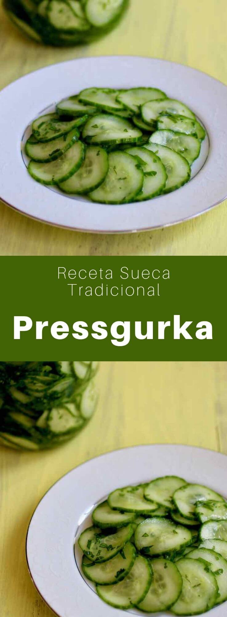 La pressgurka es una ensalada tradicional sueca que se prepara con pepino con sal, prensado y marinado con azúcar y vinagre.