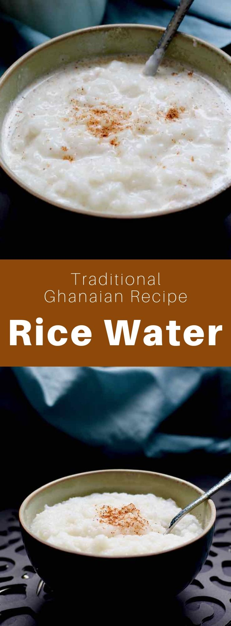 Rice water is a traditional Ghanaian dessert that consists of a rice porridge with nutmeg, but also other toppings to taste. #Ghana #GhanaianCuisine #GhanaianFood #GhanaianRecipe #AfricanCuisine #AfricanFood #AfricanRecipe #WorldCuisine #196flavors