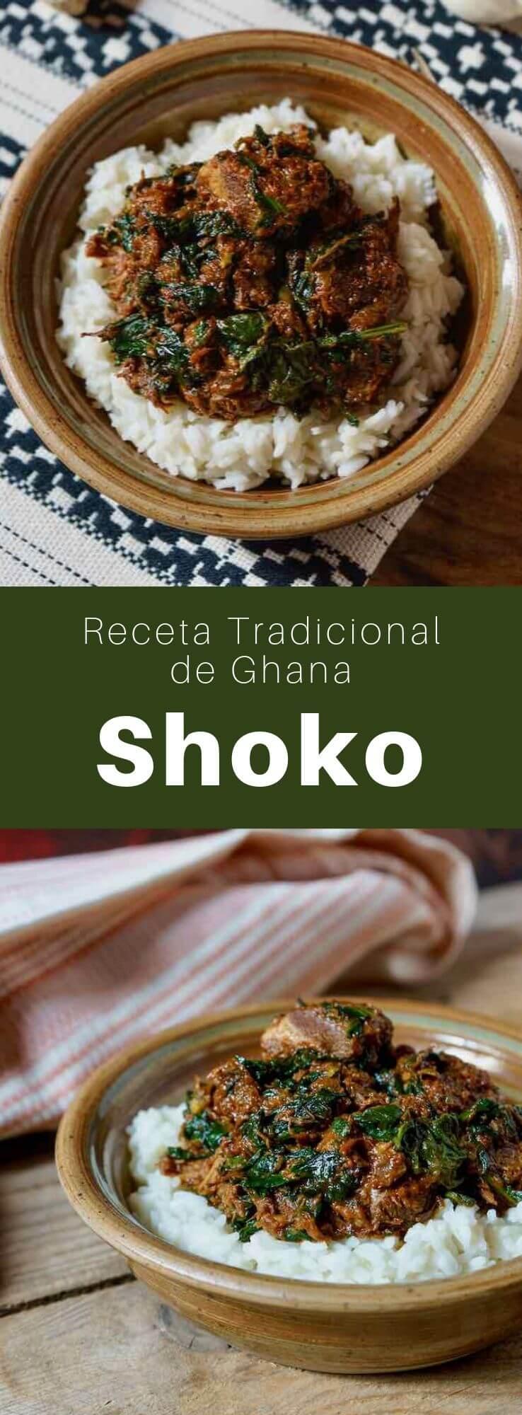El shoko es un delicioso guiso tradicional de Ghana que se prepara con carne de res, espinacas y tomates.