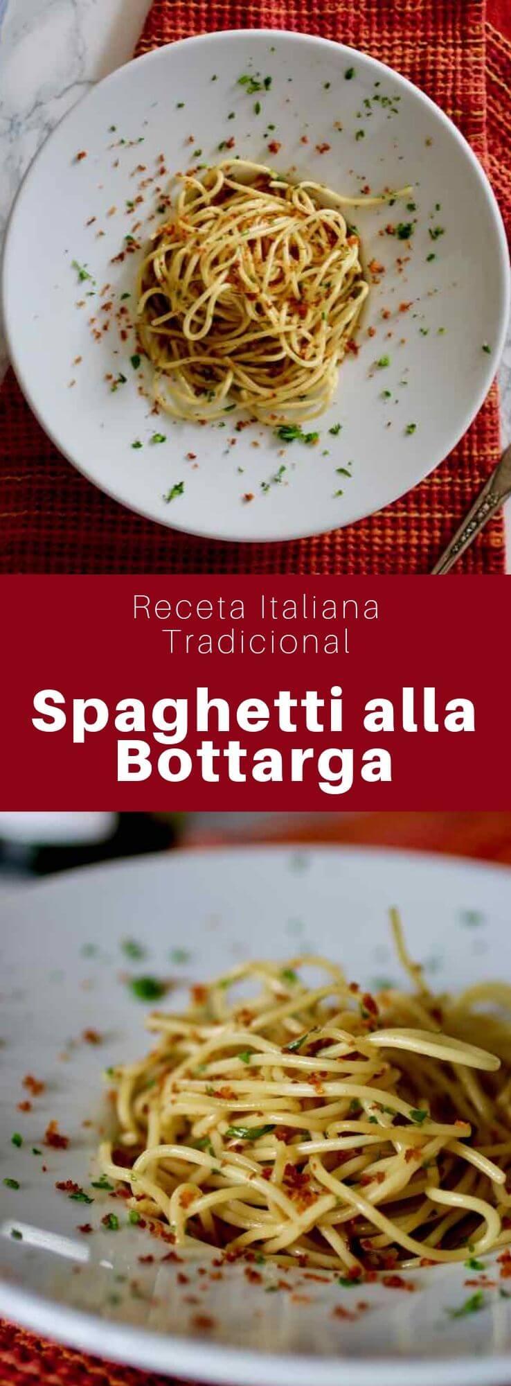 El spaghetti alla bottarga es un plato típico de pasta italiana que se sirve con huevas de pescado curadas y saladas llamadas bottarga.
