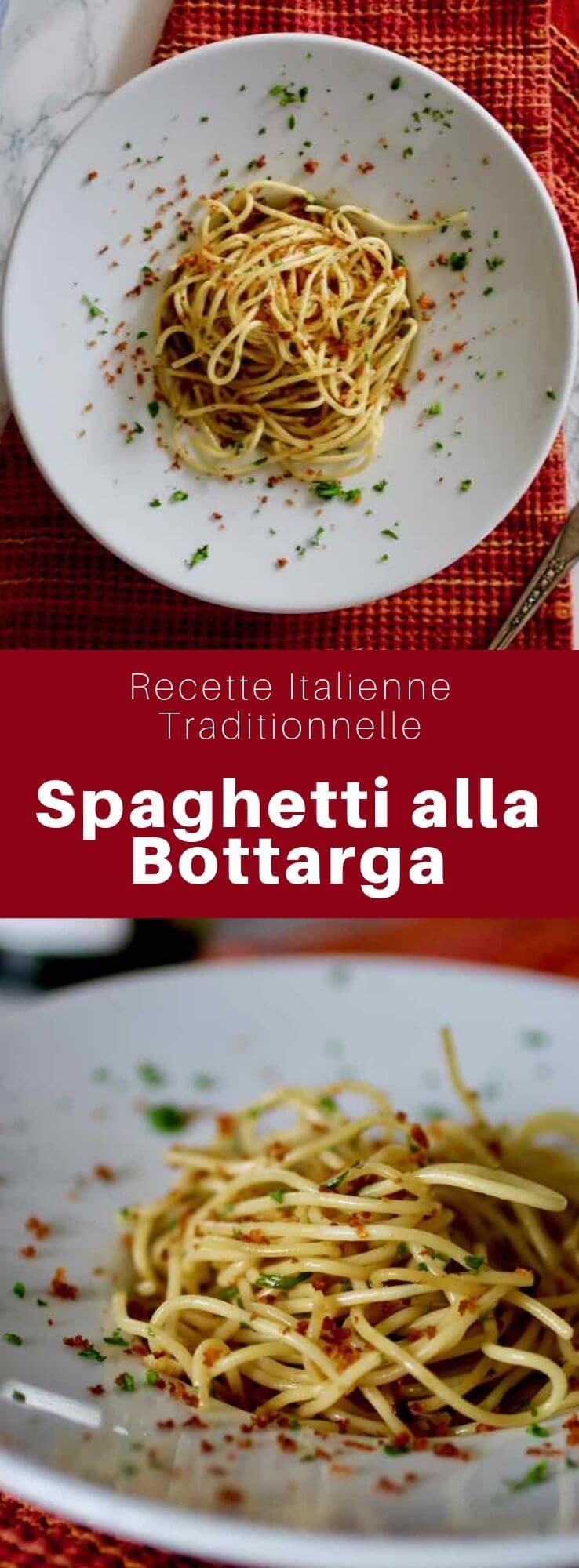Les spaghetti alla bottarga sont un plat typiquement italien de pâtes servies avec des oeufs de poisson salés et séchés appelés boutargue. #Italie #Sardaigne #Grece #RecetteItalienne #CuisineItalienne #CuisineGrecque #CuisineDuMonde #196flavors