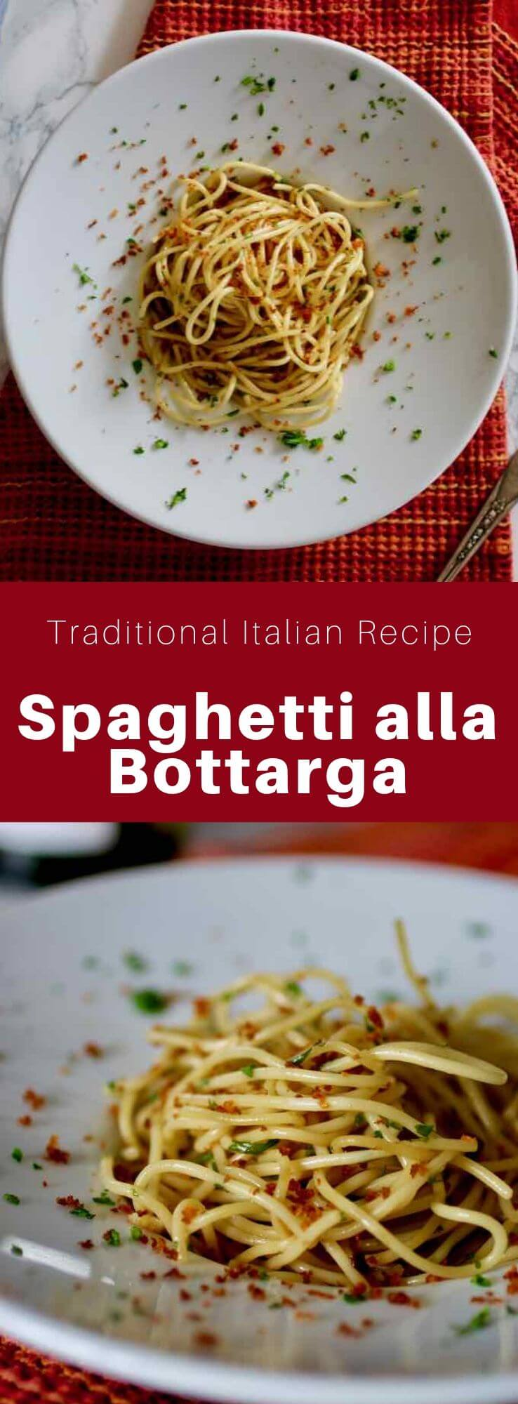 Spaghetti alla bottarga is a delicious traditional Italian pasta dish served with salted and cured fish eggs called bottarga. #Italy #Sardinia #ItalianFood #ItalianRecipe #ItalianCuisine #WorldCuisine #196flavors
