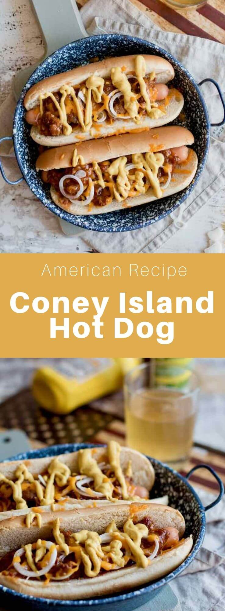 A Coney Island hot dog is a hot dog but also a popular type of restaurant in the northern United States, especially in Michigan. #AmericanRecipe #AmericanFood #AmericanCuisine #WorldCuisine #196flavors