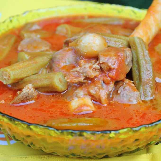 Iraqi okra stew
