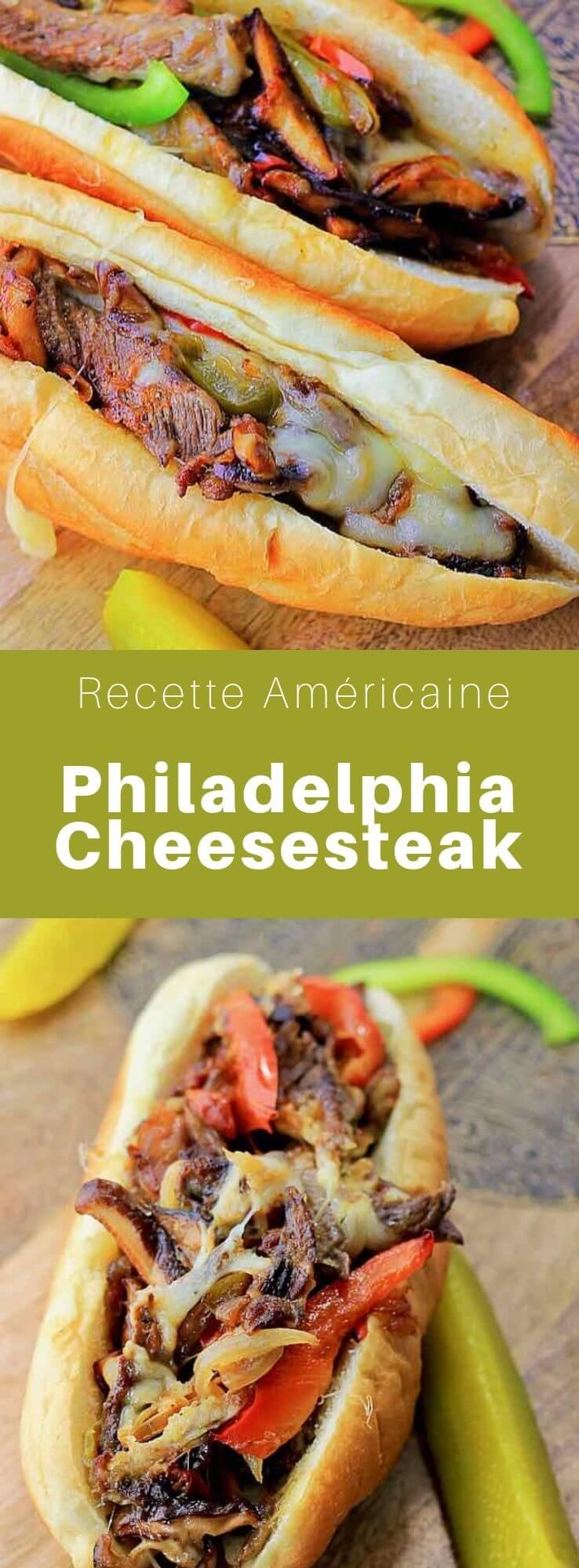 Le Philadelphia cheesesteak, ou Philly cheesesteak, est un sandwich de bœuf et fromage, typique de la ville de Philadelphie, incluant souvent des oignons, des champignons et des poivrons. #RecetteAmericaine #CuisineAmericaine #CuisineDuMonde #196flavors