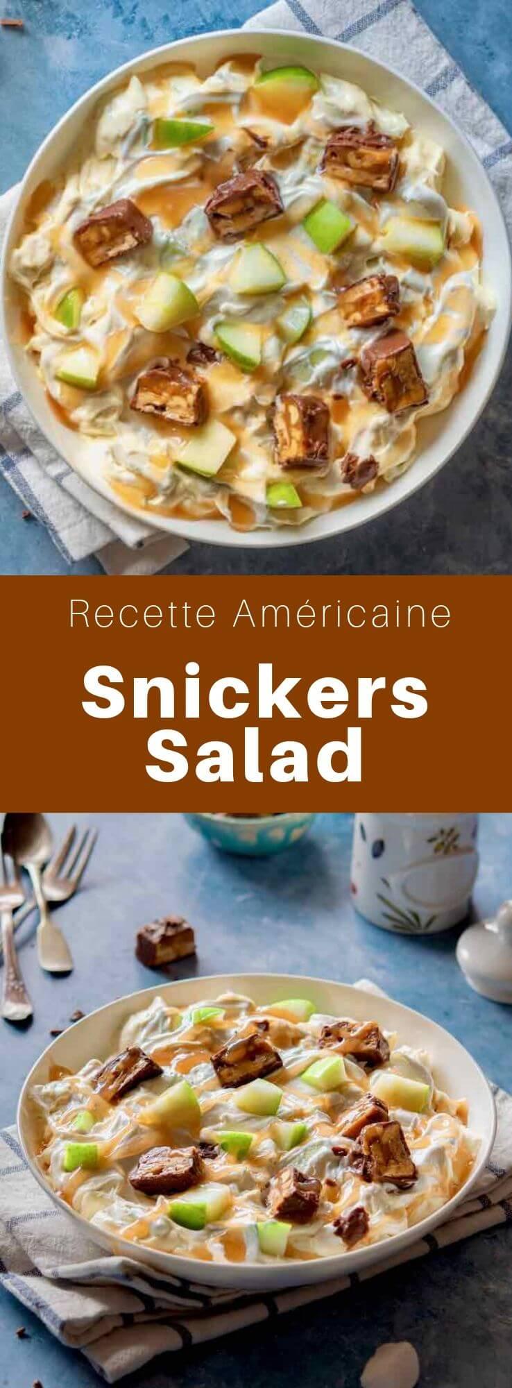 La Snickers salad est un mélange de barres Snickers, de pommes Granny Smith , de crème fouettée et de pudding à la vanille populaire dans l'Iowa dans le Midwest des États Unis. #RecetteAmericaine #CuisineAmericaine #CuisineDuMonde #196flavors
