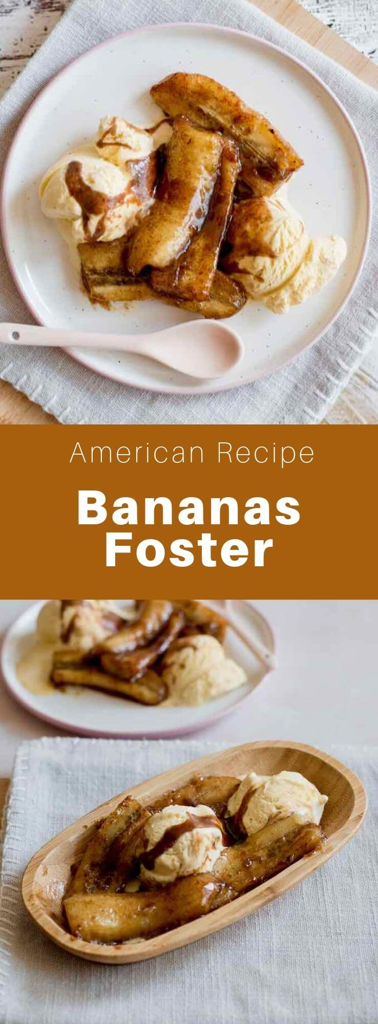 Bananas Foster is a New Orleans dessert made from flambéed bananas with banana liqueur and rum, and served with vanilla ice cream. #SouthernFood #SouthernRecipe #SouthernCuisine #AmericanRecipe #AmericanFood #AmericanCuisine #WorldCuisine #196flavors