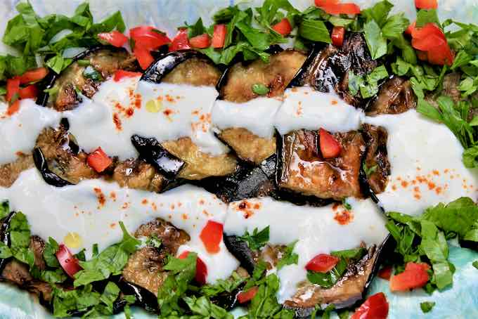 browned eggplant with yogurt