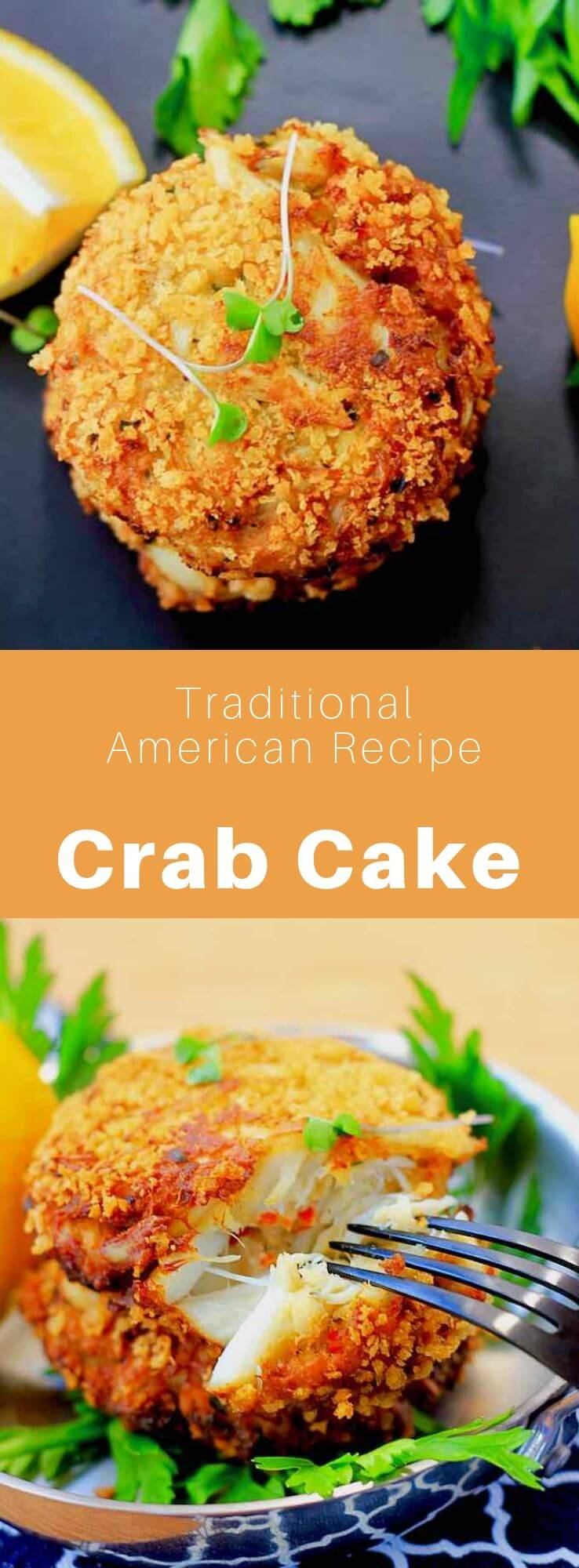 A crab cake is a popular American recipe that is prepared with crabmeat and other ingredients such as breadcrumbs, mayonnaise, mustard, and egg. It is then fried, sautéed, baked, or grilled. #AmericanRecipe #AmericanFood #AmericanCuisine #WorldCuisine #196flavors