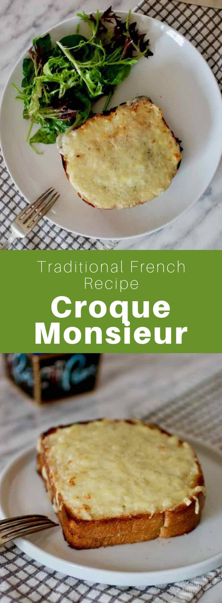 A croque-monsieur is a typical toasted French sandwich composed of two slices of bread filled with ham, cheese and Béchamel sauce. #French #FrenchRecipe #FrenchCuisine #WorldCuisine #196flavors