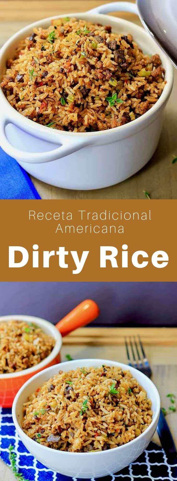 El dirty rice es un plato criollo popular del sur de Louisiana que se prepara con arroz, carne de res, cerdo y hígado de pollo picados.