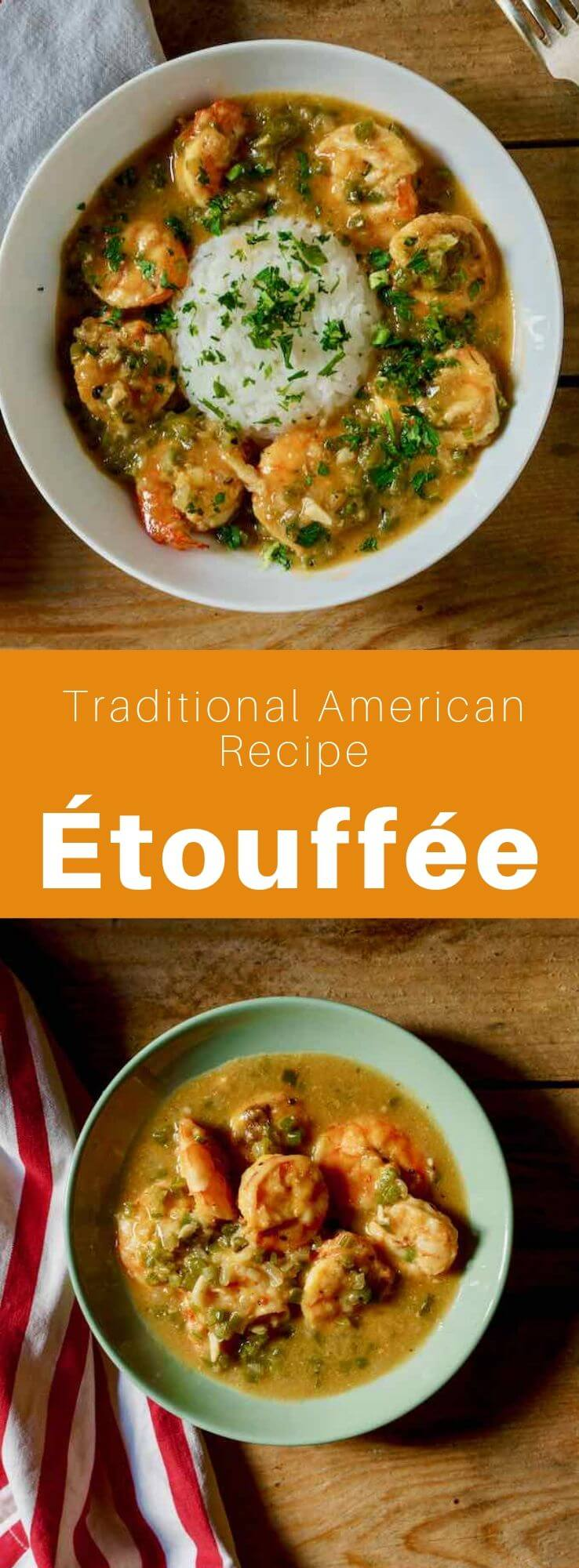 Étouffée is a delicious traditional Louisiana dish with crayfish tails cooked in a tasty butter sauce with herbs and spices. #SouthernFood #SouthernRecipe #SouthernCuisine #AmericanRecipe #AmericanFood #AmericanCuisine #WorldCuisine #196flavors