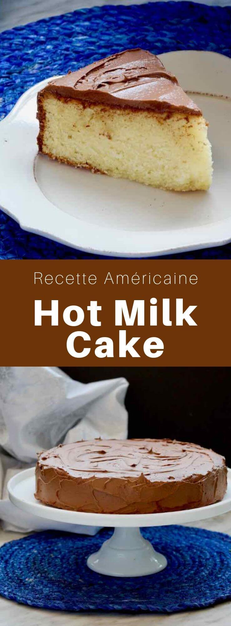 Le hot milk cake est un gâteau au lait chaud traditionnel gâteau du Mid-Atlantic aux Etats Unis. Il est garni d'un glaçage moka. #RecetteAmericaine #CuisineAmericaine #CuisineDuMonde #196flavors