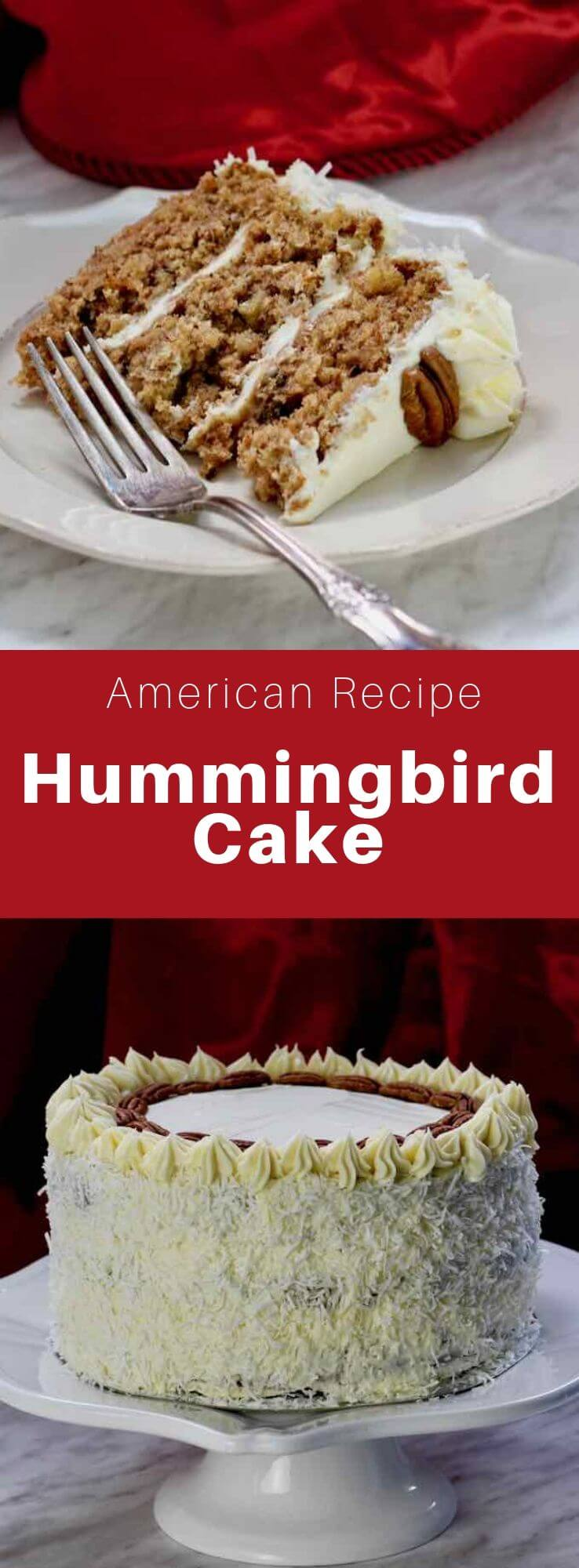 The hummingbird cake is a Southern cake of Jamaican origin prepared with banana, lemon, pineapple, coconut, vanilla, pecan and cream cheese. #SouthernFood #SouthernRecipe #SouthernCuisine #AmericanRecipe #AmericanFood #AmericanCuisine #WorldCuisine #196flavors