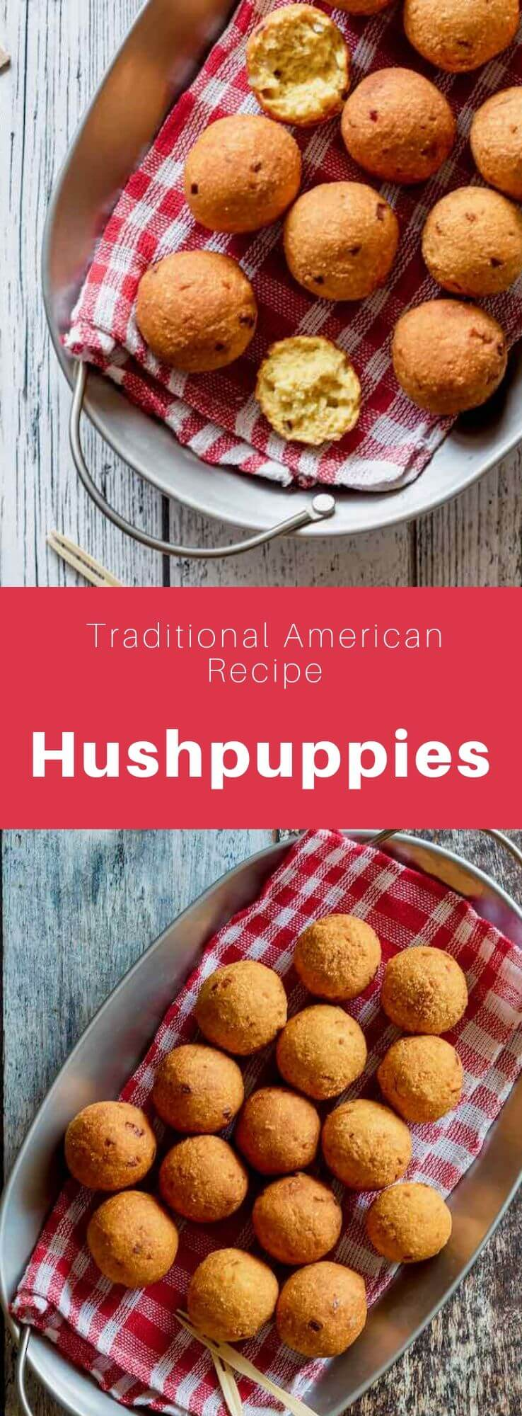 Hushpuppies are delicious little fried balls prepared with yellow cornmeal and often served as an accompaniment to seafood. #SouthernFood #SouthernRecipe #SouthernCuisine #AmericanRecipe #AmericanFood #AmericanCuisine #WorldCuisine #196flavors