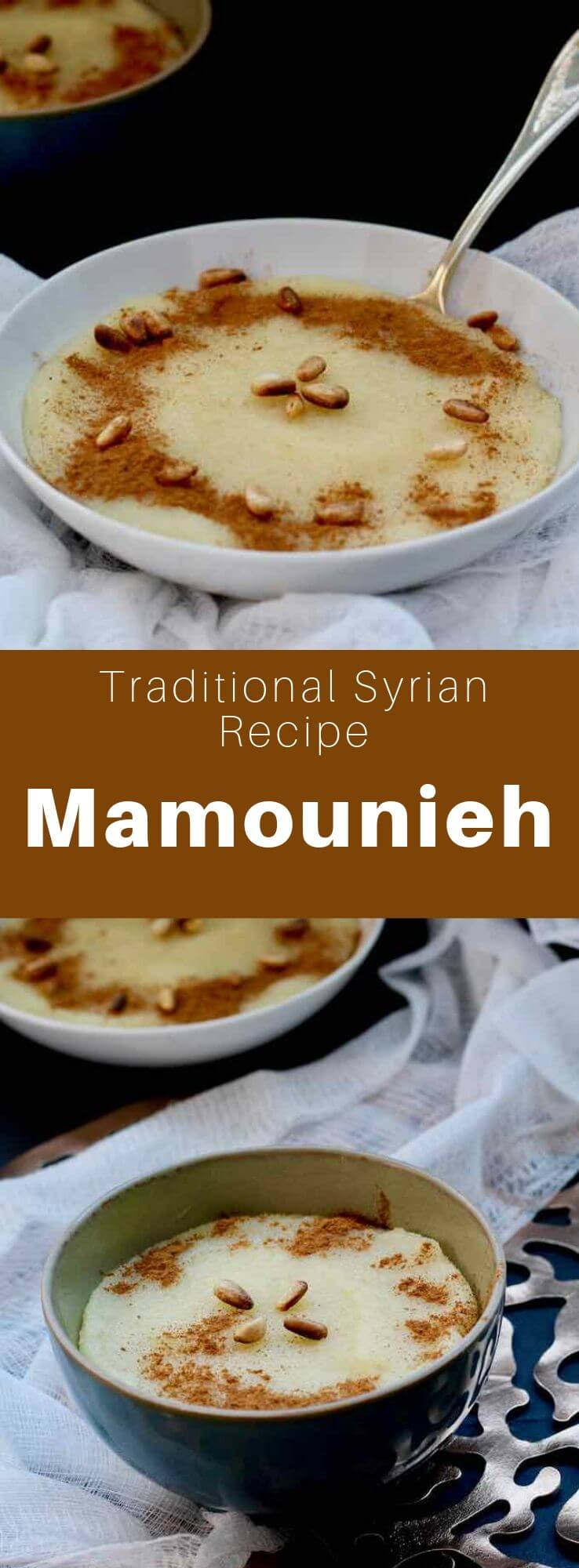 Mamounia (or mamounieh) is a delicious semolina pudding prepared with roasted semolina, butter and sugar syrup that is a breakfast favorite in Syria. #Syria #SyrianCuisine #SyrianRecipe #SyrianFood #MiddleEasternCuisine #MiddleEasternRecipe #MiddleEasternFood #ArabCuisine #ArabRecipe #ArabFood #WorldCuisine #196flavors