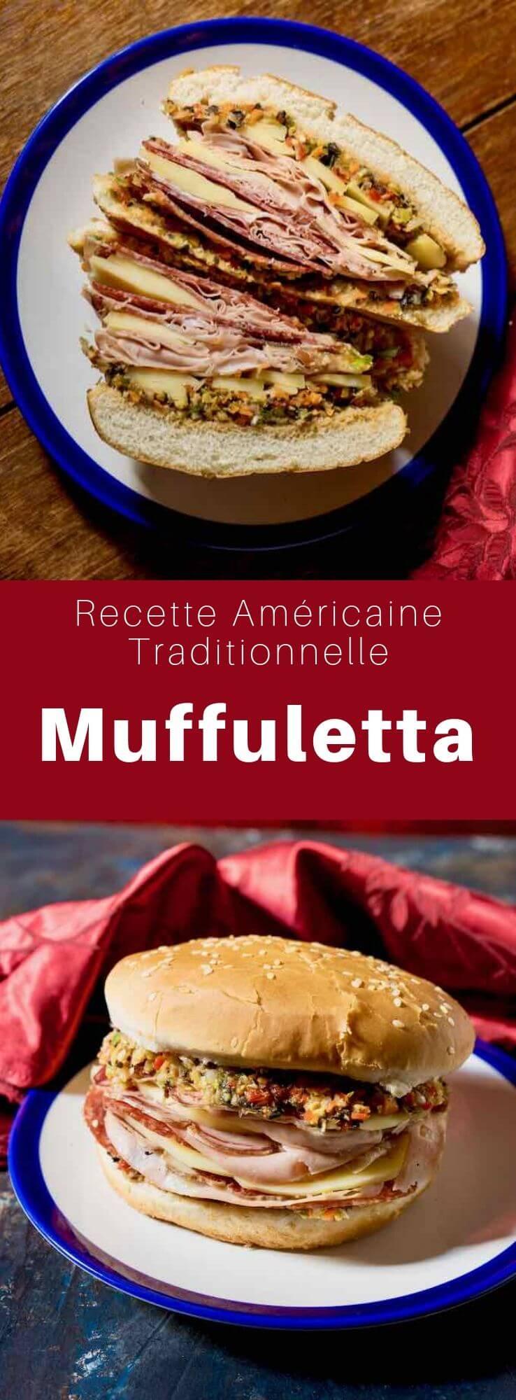 Le muffuletta est à la fois un pain au sésame rond sicilien et un sandwich populaire originaire des immigrants italiens de la Nouvelle-Orléans, en Louisiane, utilisant le même pain. #RecetteAmericaine #CuisineAmericaine #CuisineDuMonde #196flavors