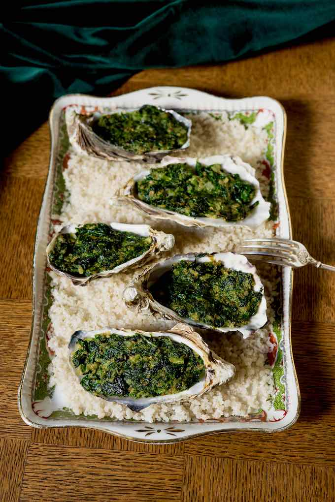 traditional oysters Rockefeller