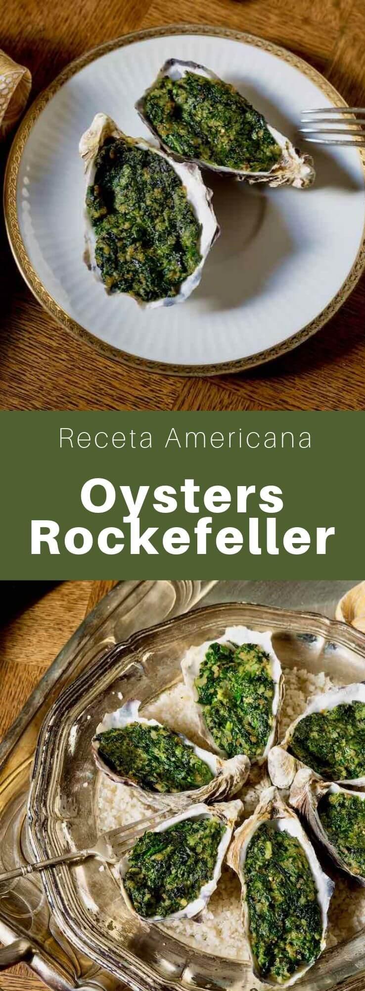 Las ostras Rockefeller son un plato tradicional de Nueva Orleans que consiste en ostras cubiertas con salsa de mantequilla, espinacas y migas de pan, que luego se tuestan.