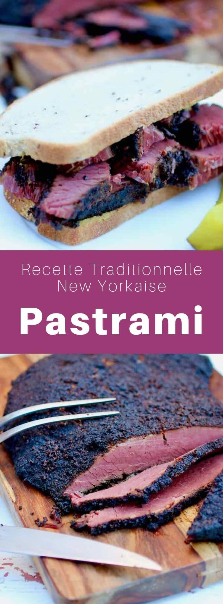 Le pastrami est une préparation de bœuf fumé, préparée à partir de morceaux de poitrine, qui est d'abord saumuré, puis fumé et finalement cuit à la vapeur. #RecetteAmericaine #CuisineAmericaine #CuisineDuMonde #RecetteJuive #CuisineJuive #196flavors