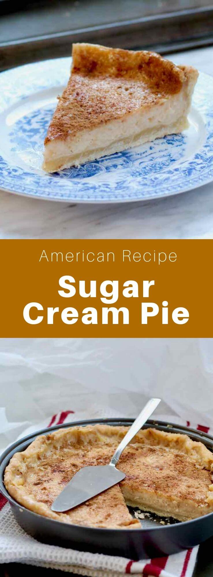 A sugar cream pie is a traditional pie from Indiana that is prepared with a dough filled with butter, vanilla custard, sugar, and flour, then baked. #AmericanRecipe #AmericanFood #AmericanCuisine #WorldCuisine #196flavors