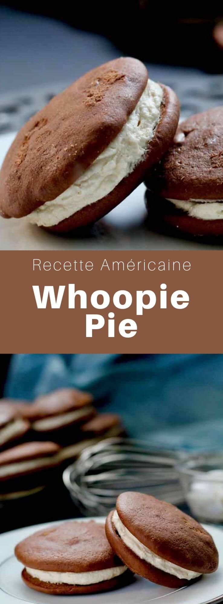 Le whoopie pie appelé également black moon, gob, black-and-white, devil dog, bob, ou BFO (Big Fat Oreo) est un gâteau américain composé de deux morceaux ronds de gâteau au chocolat garnis d'une crème au beurre et à la guimauve. #RecetteAmericaine #DessertAmericain #CuisineAmericaine #CuisineDuMonde #196flavors