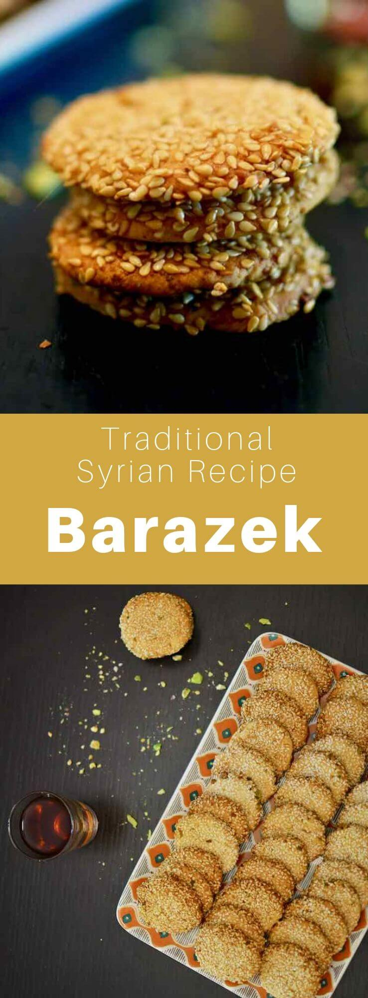 Barazek is a sesame and pistachio cookie from Syria. It is often enjoyed with tea or ice cream. #Syria #SyrianCuisine #SyrianRecipe #SyrianFood #MiddleEasternCuisine #MiddleEasternRecipe #MiddleEasternFood #ArabCuisine #ArabRecipe #ArabFood #WorldCuisine #196flavors