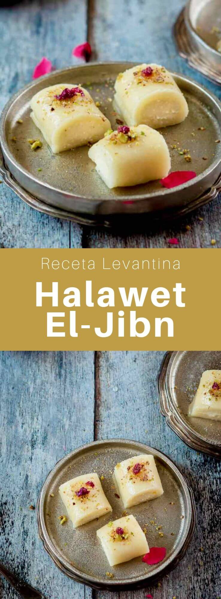 El halawet el-jibn es un postre tradicional levantino y del Medio Oriente de origen sirio hecho con masa de sémola y queso, cubierto con crema y jarabe de azúcar.