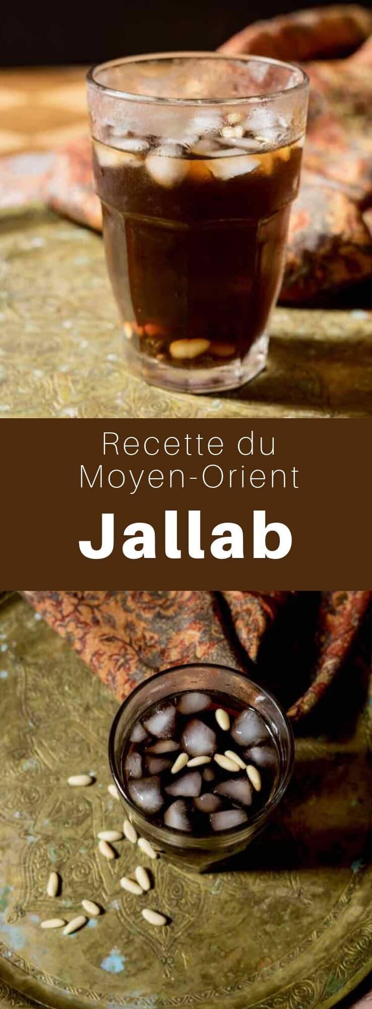 Le jallab est un sirop de fruits populaire au Moyen-Orient, à base de mélasse de caroube, de dattes, et de raisin. Il est surtout très réputé en Jordanie, en Syrie, et au Liban. #CuisineSyrienne #RecetteSyrienne #Syrie #CuisineMoyenOrientale #MoyenOrient #CuisineArabe #RecetteArabe #CuisineDuMonde #196flavors