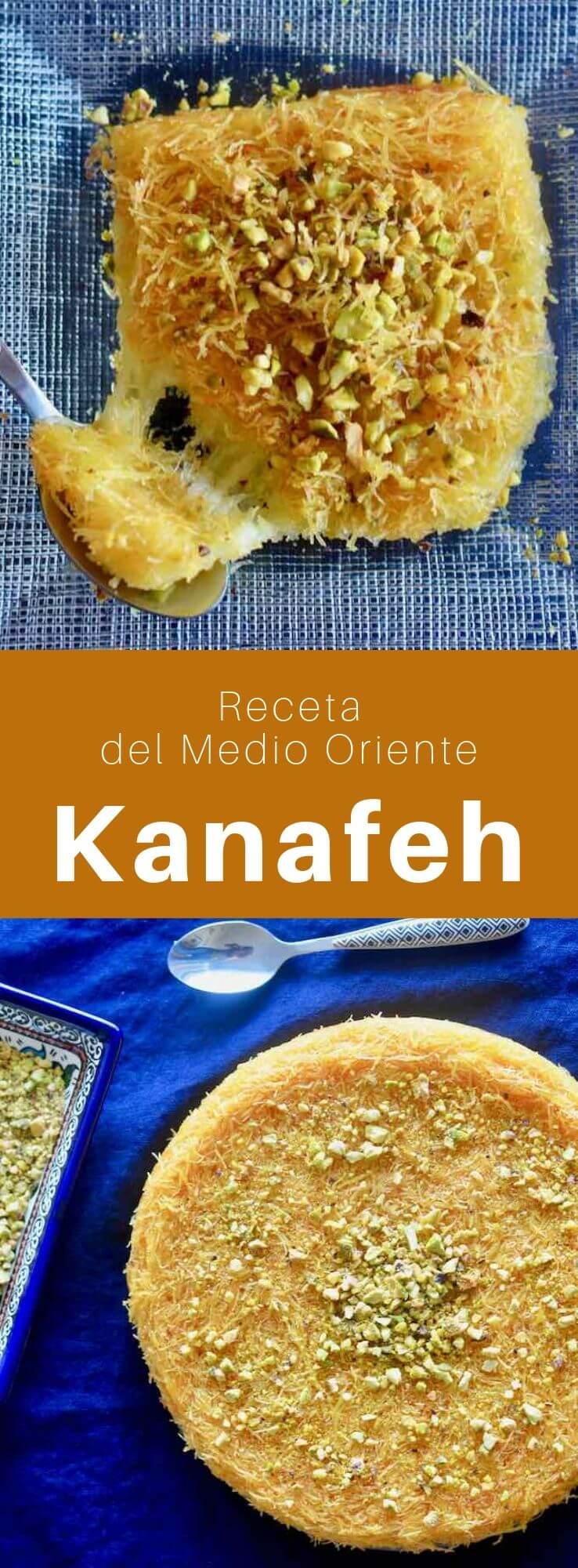 El kanafeh es un pastel típico del Medio Oriente, empapado en jarabe de agua de rosas, hecho con kadaif (cabello de ángel), queso akawi, mantequilla y pistachos o nueces.