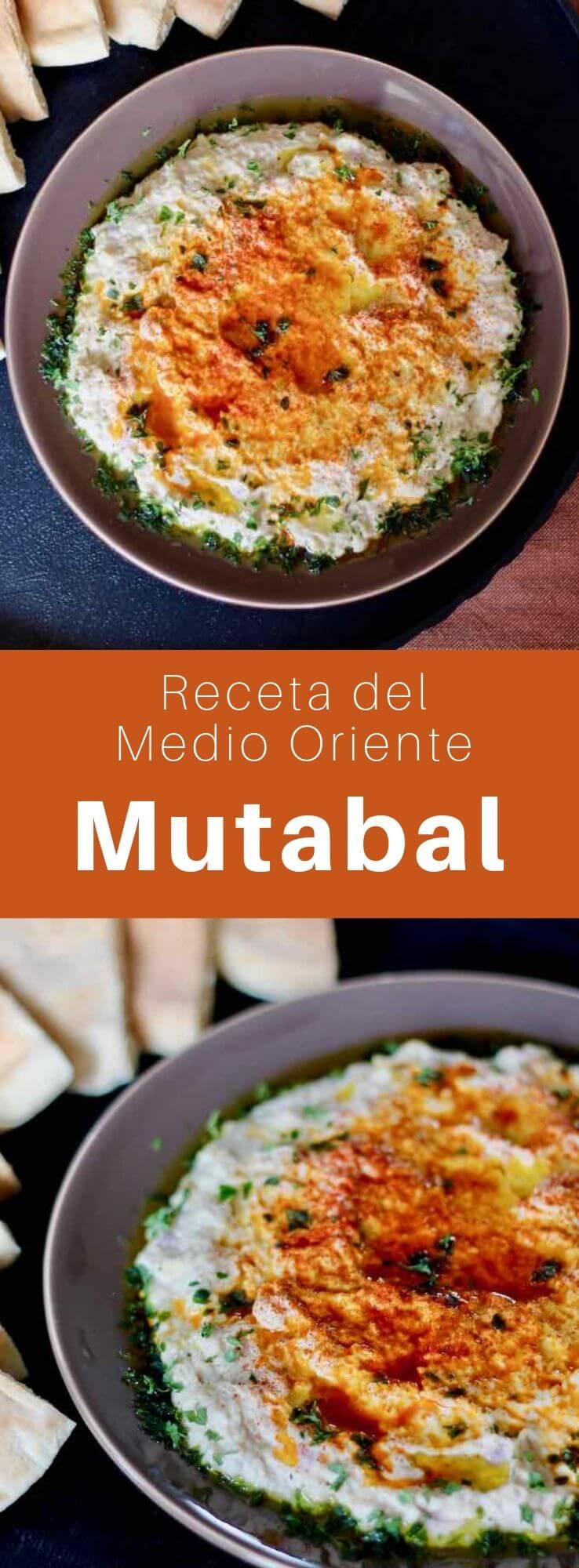 El mutabal, una ensalada de berenjena nacida del baba ghanoush, es un mezzé tradicional del Medio Oriente hecho con berenjena, tahini, limón, yogur y ajo.