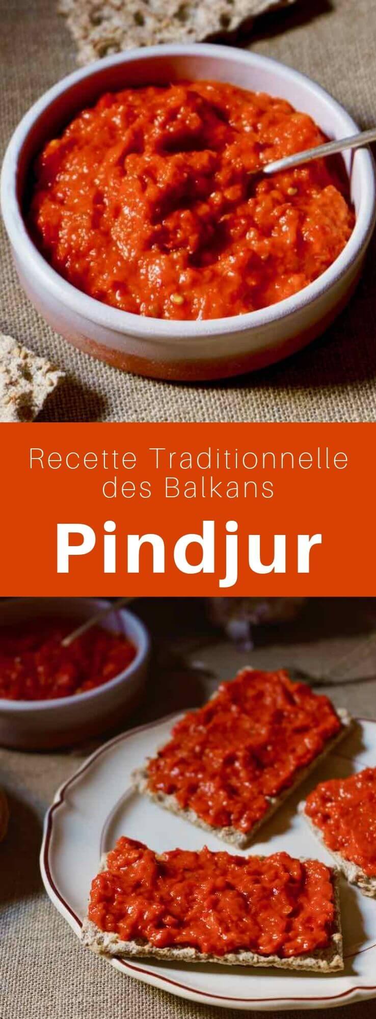 Le pindjour ou pindjur est un condiment ou pâte à tartiner à base de légumes du centre des Balkans (Macédoine), proche de la <em srcset=