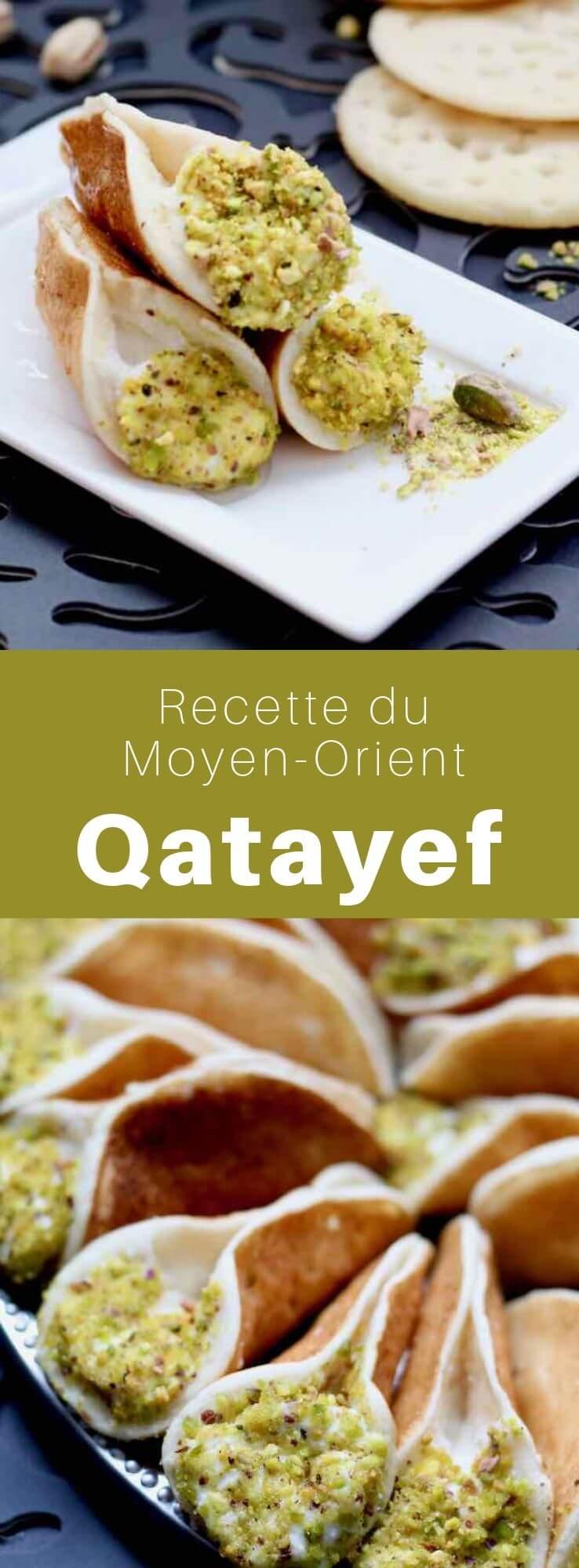 Le katayef ou qatayef est un dessert à base de crêpe farcie de crème nappée de pistaches, caractéristique du mois de ramadan dans les pays arabes du Moyen-Orient. #CuisineSyrienne #RecetteSyrienne #Syrie #CuisineMoyenOrientale #MoyenOrient #CuisineArabe #RecetteArabe #CuisineDuMonde #196flavors
