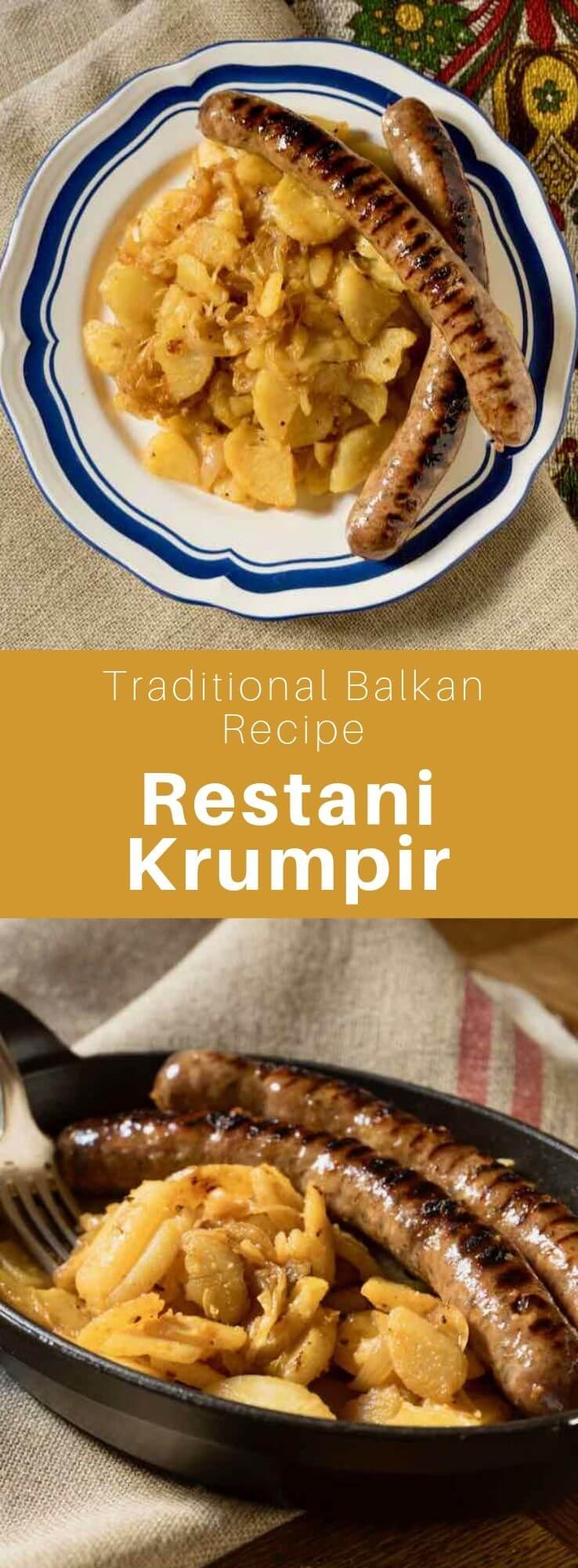 El restani krumpir es un desayuno o plato croata tradicional hecho con patatas salteadas que se sirven con salchichas.