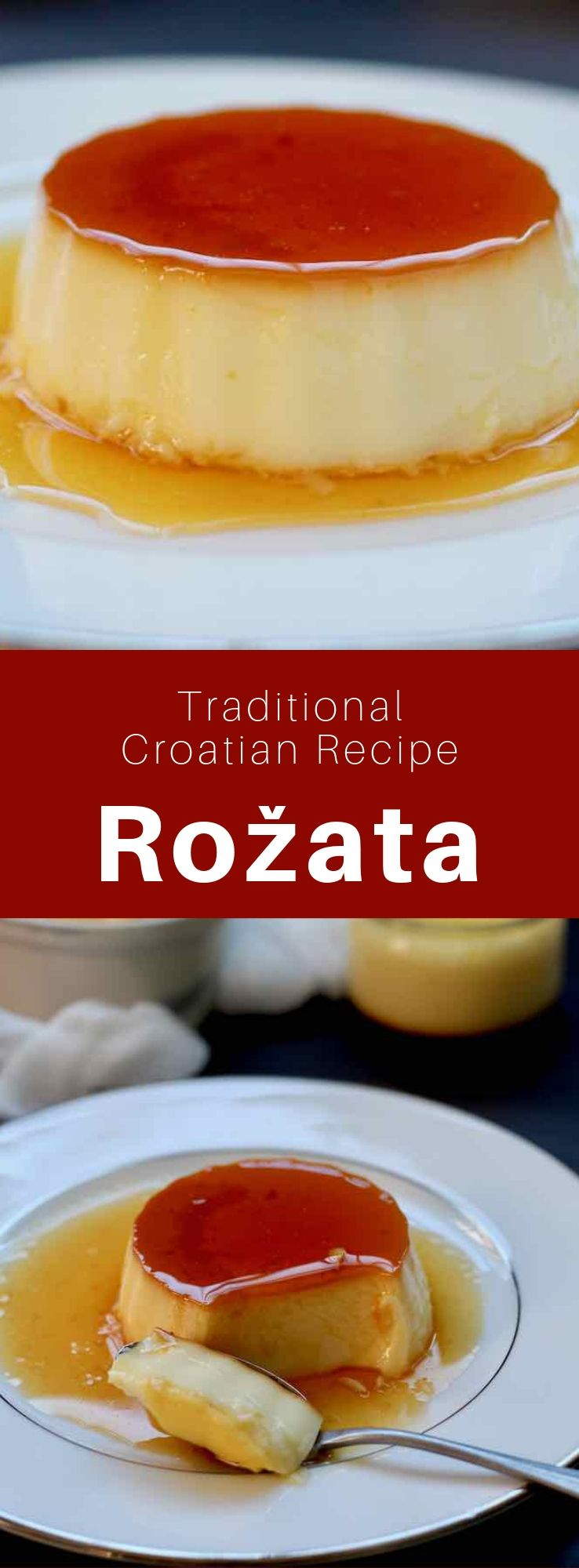 Rožata, rozata, rožada or rozada is a Croatian creamy pudding from the Dubrovnik region that looks like custard and crème brûlée. #Croatia #CroatianCuisine #CroatianFood #CroatianRecipe #BalkanRecipe #BalkanCuisine #BalkanFood #CremeCaramel #Custard #WorldCuisine #196flavors