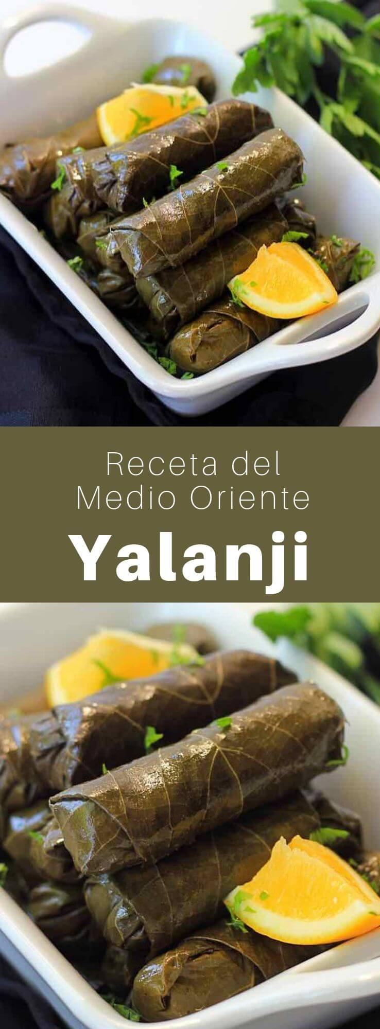 El yalanji es una receta vegetariana siria tradicional hecha de hojas de parra rellenas de arroz, verduras y hierbas.