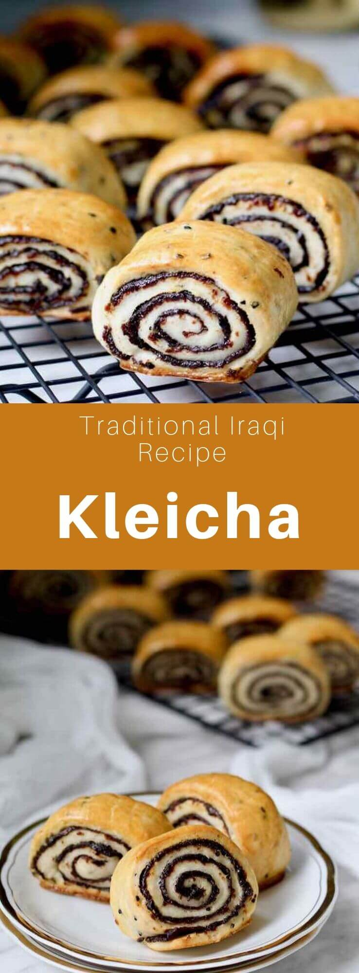 Kleicha is a delicious small pastry that is considered to be the Iraqi national pastry made from a dough stuffed with a cardamom-flavored date paste. #Iraq #IraqiCuisine #IraqiRecipe #IraqiPastry #MiddleEastern #WorldCuisine #196flavors