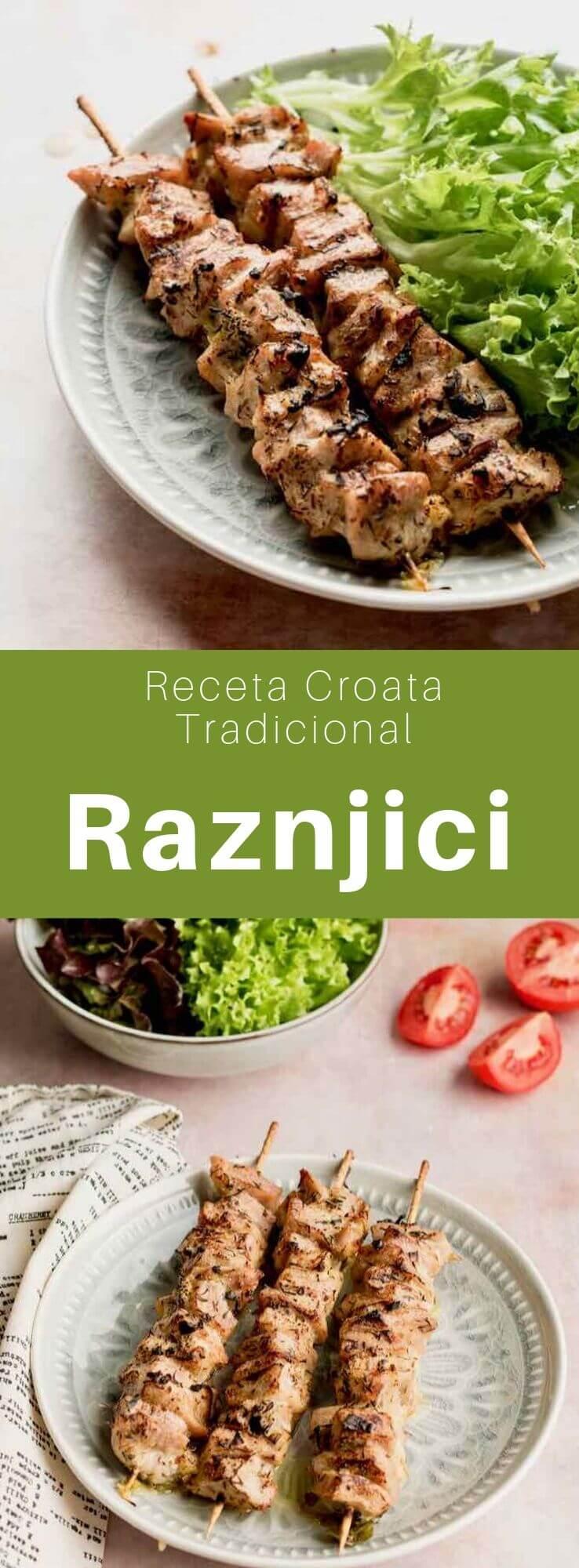 El ražnjići es un plato popular de los Balcanes hecho de carne de cerdo cocinada a la parrilla de una barbacoa. Es similar al souvlaki griego y al şaşlık turco.