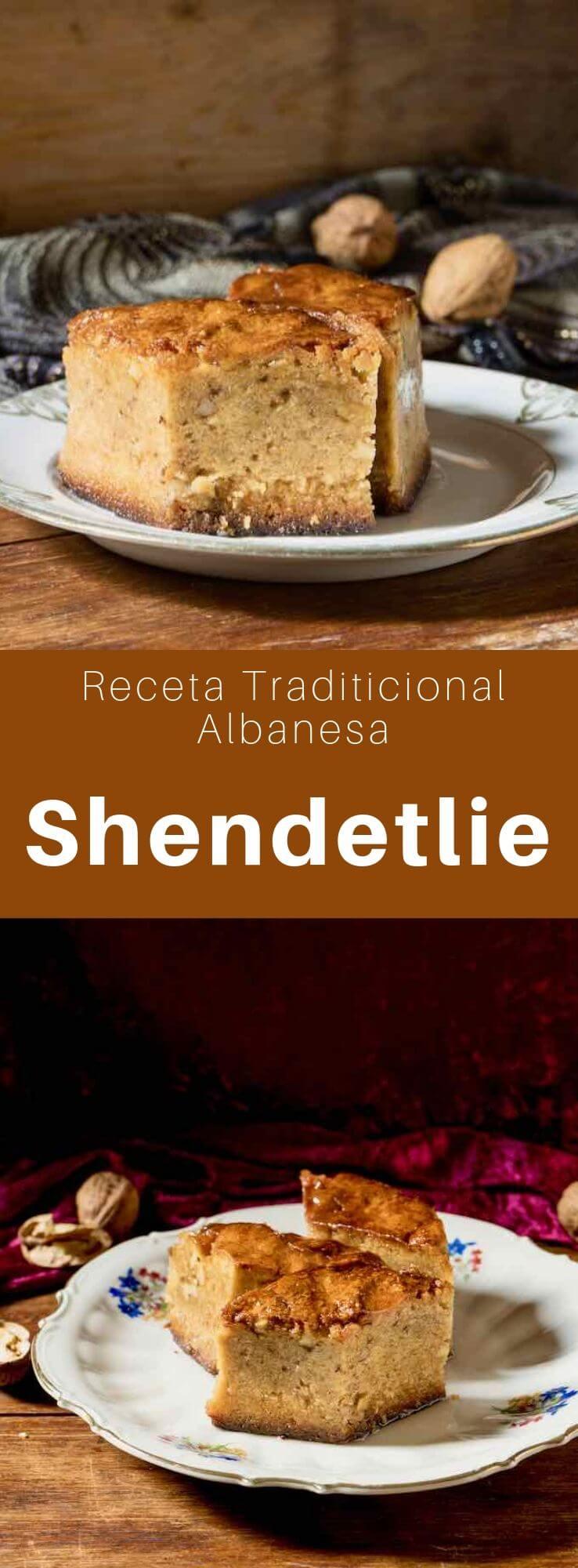 El shendetlie es un delicioso pastel tradicional originario de Albania, hecho con miel y nueces y empapado en un jarabe de azúcar.