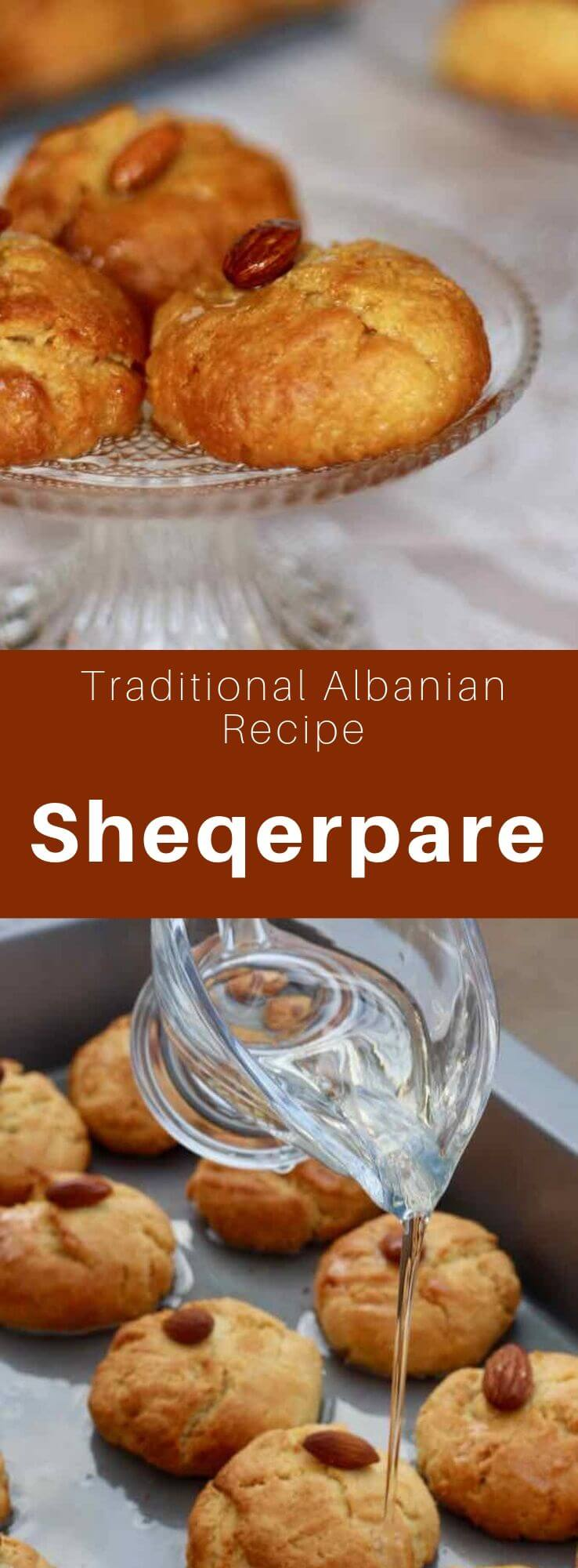 The sheqerpare are small butter biscuits soaked in sugar syrup originally from Albania. In Turkey, they are called şekerpare. #Albania #AlbanianRecipe #AlbanianCuisine #Turkey #TurkishRecipe #TurkishCuisine #Balkans #WorldCuisine #196flavors