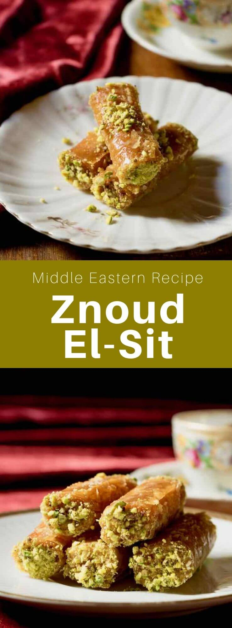 Znoud el-sit (ladies' upper arm) is a popular Middle Eastern cream-filled pastry made of phyllo dough, crunchy on the outside and creamy inside. #MiddleEast #MiddleEastern #Iraq #IraqiCuisine #IraqiRecipe #MiddleEastern #WorldCuisine #196flavors