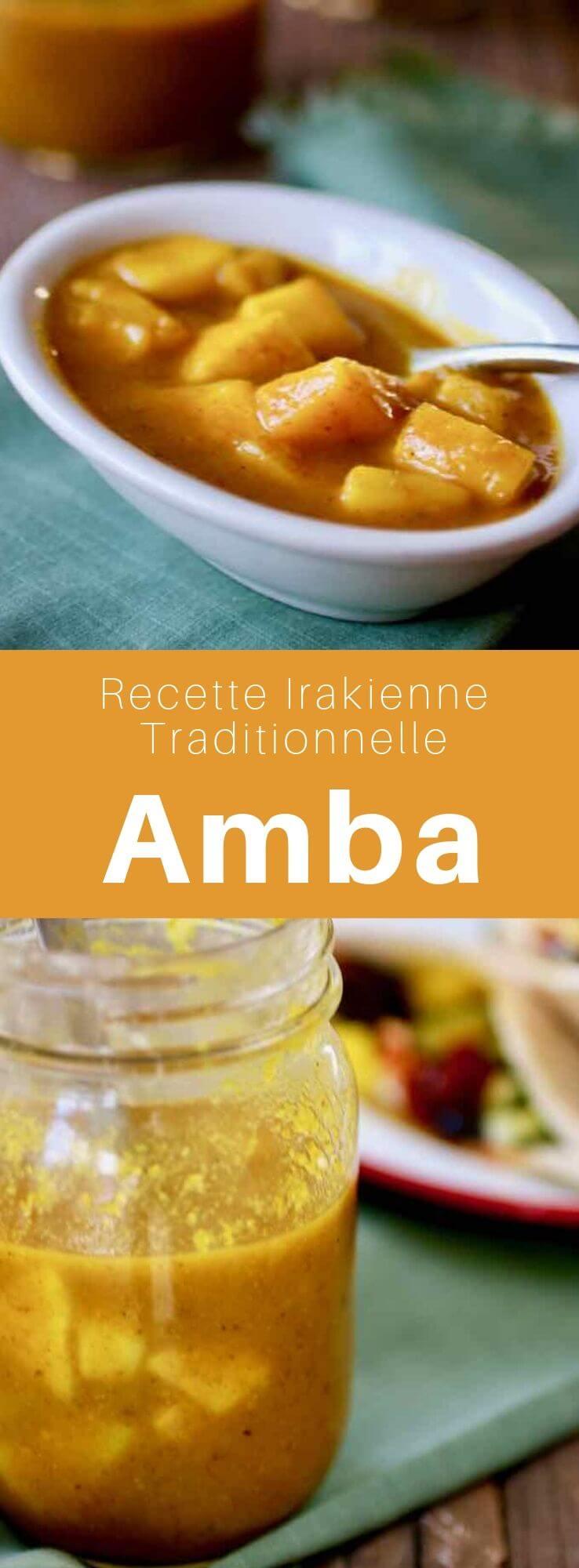 L'amba est une sauce composée de mangue, vinaigre et épices, qui est utilisée comme un condiment en cuisine irakienne et moyen-orientale. #MiddleEast #MiddleEastern #Iraq #IraqiCuisine #IraqiRecipe #WorldCuisine #196flavors