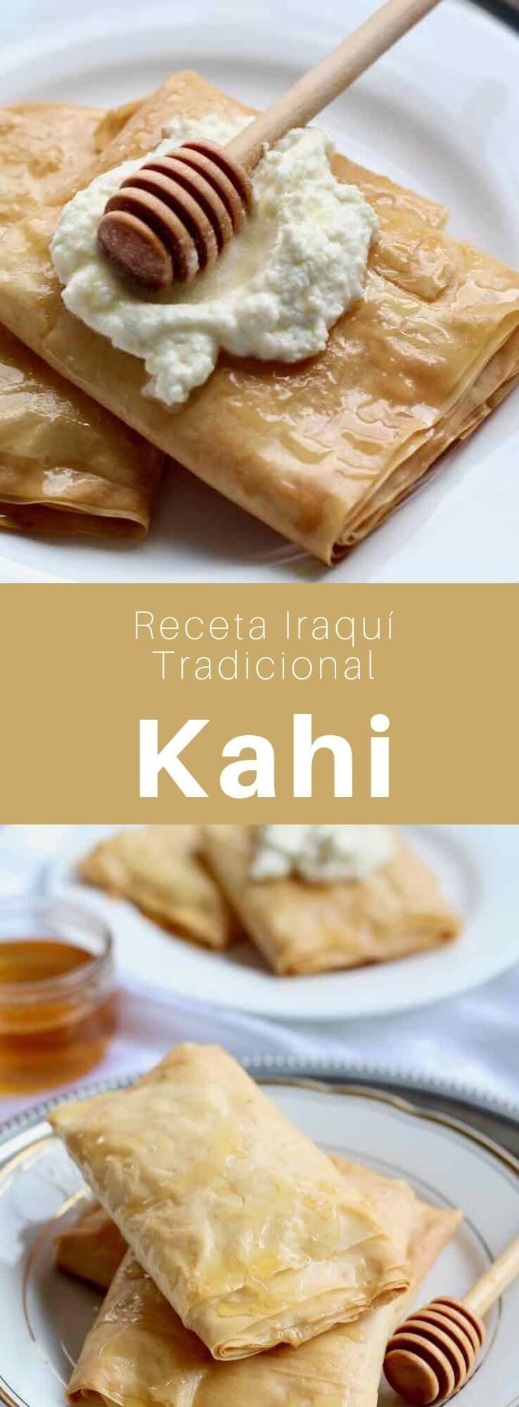 El kahi es un delicioso postre tradicional iraquí hecho de masa filo y mantequilla, y servido con crema coagulada.