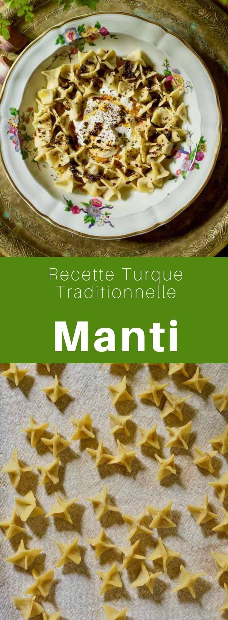 Les manti sont des raviolis d'origine turque et populaires dans les cuisines d'Asie centrale, d'Arménie, et chez les Ouïghours, farcis d'agneau ou de bœuf et servis avec sauce épicée et yaourt à l'ail. #Turquie #RecetteTurque #CuisineTurque #CuisineDuMonde #196flavors