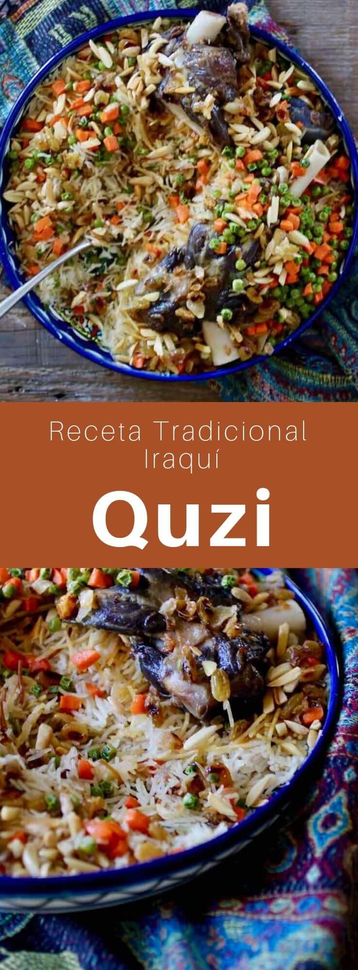 El quzi es un plato popular de Iraq, el Golfo Pérsico y Turquía compuesto de arroz y cordero, y adornado con almendras, pasas y huevos.