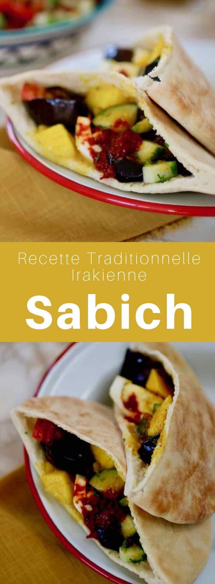Le sabich ou sabih est un sandwich judéo-irakien très populaire en Israël principalement à base de pita, aubergine, oeuf dur, houmous, tahini et amba. #Irak #RecetteIrakienne #CuisineIrakienne #CuisineJuive #CuisineDuMonde #196flavors